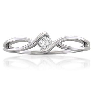 Montebello 10k White Gold 1/10ct TDW Princess-cut Diamond Promise Ring