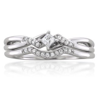Brides Across America by Montebello 10k White Gold 1/5ct TDW Princess-cut Diamond Bridal Ring Set (G-H, I1)