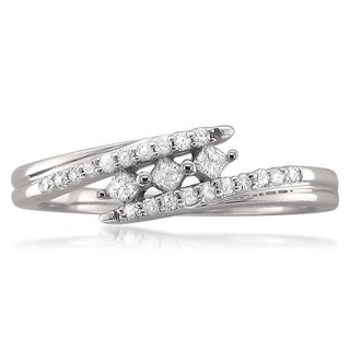 Montebello 10k White Gold 1/5ct TDW Princess-cut Diamond Ring