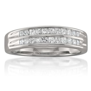 Montebello 14k White Gold 1/2ct TDW Double Row Diamond Anniversary Band