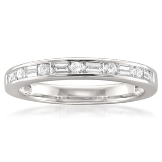 Montebello 14k White Gold 1/2ct TDW Baguette and Round-cut Diamond Wedding Band (G-H, SI1)
