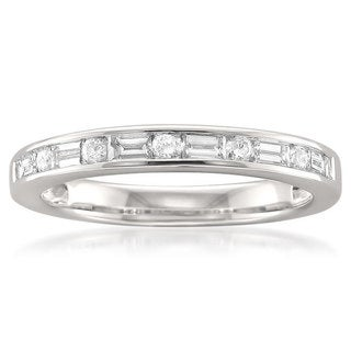Montebello 14k White Gold 1/2ct TDW Baguette and Round-cut Diamond Wedding Band