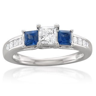Montebello 14k White Gold 5/8ct TDW White Diamond and Blue Sapphire Engagement Ring (H-I, I1)