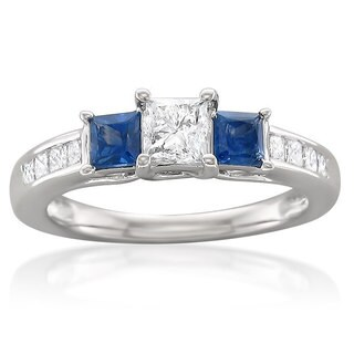 Montebello 14k White Gold 5/8ct TDW White Diamond and Blue Sapphire Engagement Ring