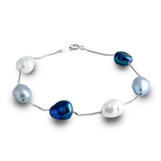 Pearls For You 14k Multi-color Baroque Freshwater Pearl Station Bracelet (9-10 mm)