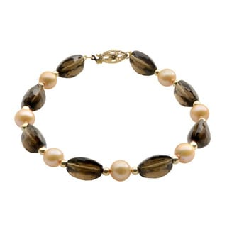 Pearls For You 14k Yellow Gold Champagne Freshwater Pearl and Smokey Quartz Bracelet (7-7.5 mm)
