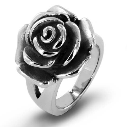 Antiqued Stainless Steel Blooming Rose Ring