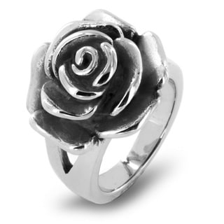 Stainless Steel Blooming Antiqued Rose Ring