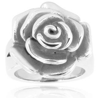 Stainless Steel Blooming Antiqued Rose Ring - Silver