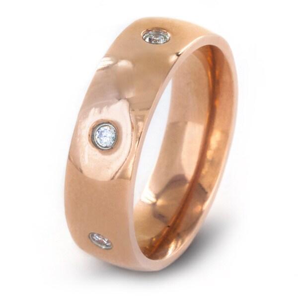 Rose Goldtone Titanium Pave Cubic Zirconia Band Ring