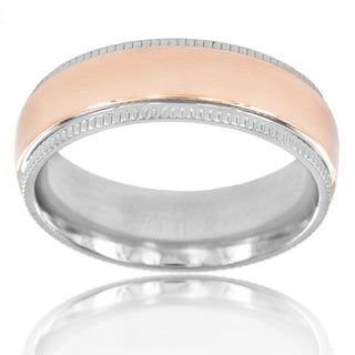 Titanium Two-tone Rose Goldtone Center Miligrain Edge Ring