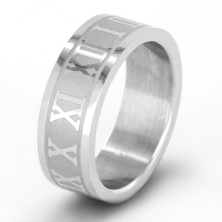 Stainless Steel Laser Cut Roman Numeral Unisex Ring