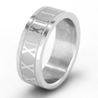 Titanium Laser-Cut Roman Numeral Unisex Ring - White (More options available)