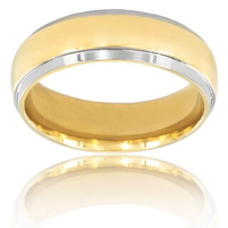 West Coast Titanium Smooth Goldtone Center Band Ring