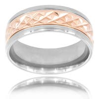 Rose Goldtone Titanium Men's Grooved Stripe Center Ring