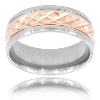 Rose Gold Tone Titanium Men's Grooved Stripe Center Ring - White