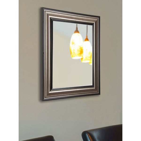 American Made Rayne Traditional Silver Wall/ Vanity Mirror - Black/Silver