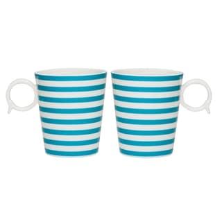 Red Vanilla 'Freshness Mix & Match Lines' 12-ounce Turquoise Mug (Set of 2)