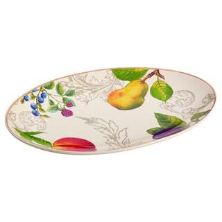 BonJour Dinnerware Orchard Harvest Stoneware 8.75 x 13-inch Oval Platter