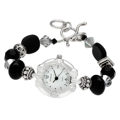 Geneva Women's 'Time after Time' Bracelet Gemstone Watch