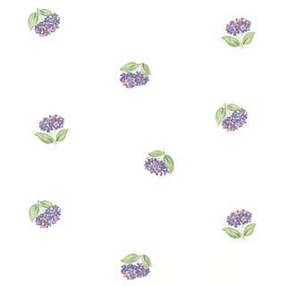 Magnolia White Lavender Floral Toss Wallpaper