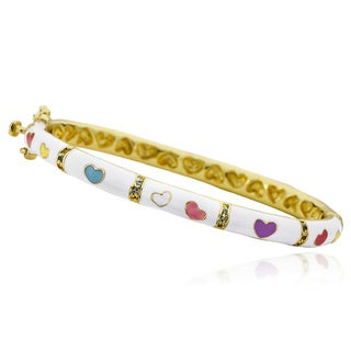 Little Miss Twin Stars 14k Goldplated Outfit Maker Cubic Zirconia White Heart Bangle