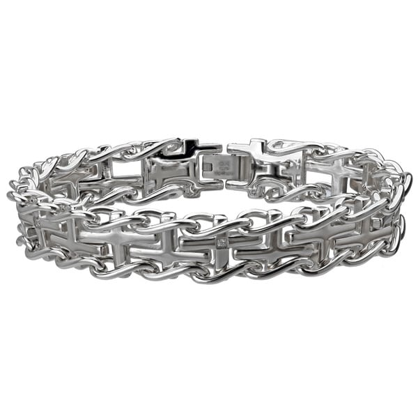 Stainless Steel Men's Cross Diamond Accent Railroad Bracelet