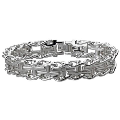 Stainless Steel Men's Cross Diamond Accent Railroad Bracelet