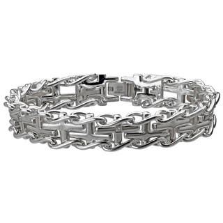 Stainless Steel Men S Cross Diamond Accent Railroad Bracelet