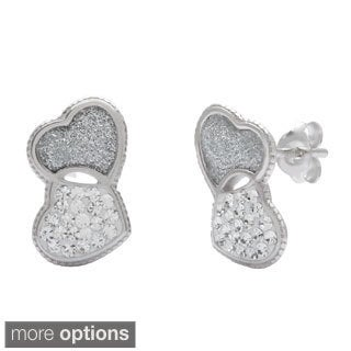 La Preciosa Sterling Silver Crystal Double Stud Earrings