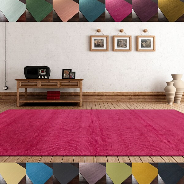 Hand-loomed Torres Casual Solid Wool Area Rug (5' X 8