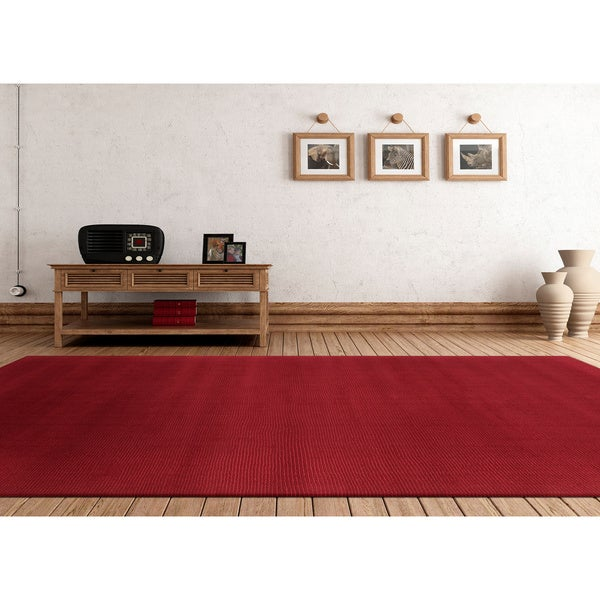 Hand-loomed Columbus Casual Solid Wool Area Rug - 5' x 8'