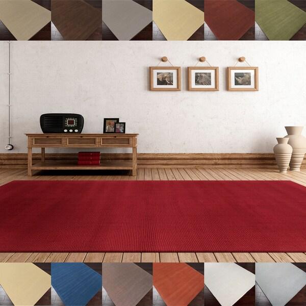Hand-loomed Columbus Casual Solid Wool Area Rug (5' x 8')