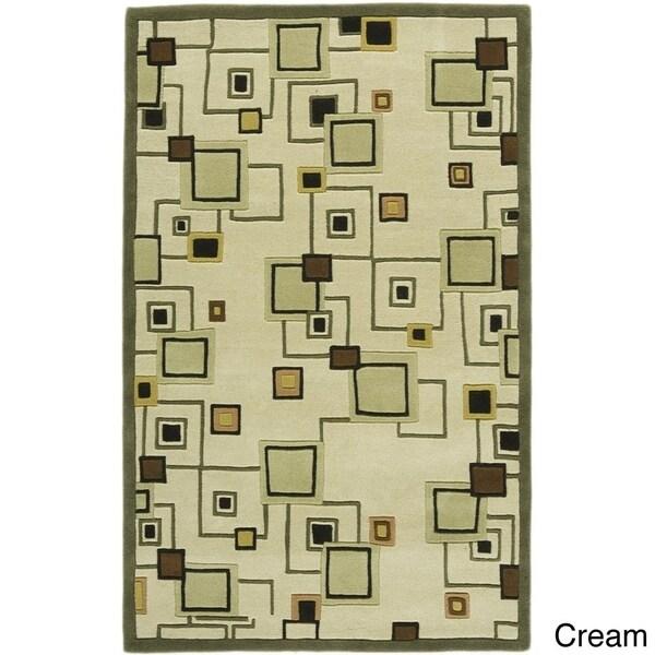 Flores Matteo Moss Green Geometric Area Rug (5' x 8') - 5' x 8'