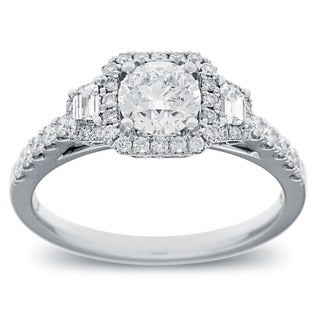 Azaro 14k White Gold 1 1/4ct TDW Round and Baguette Diamond Engagement Ring (G-H, SI2-I1)