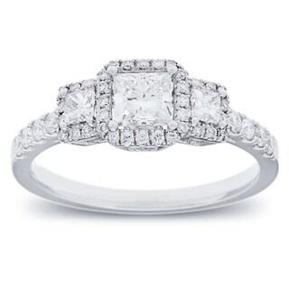 Azaro 14k White Gold 1ct TDW Diamond Halo Engagement Ring