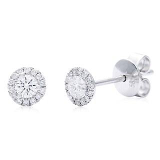 Azaro 14k White Gold 1/3ct TDW Halo Vintage Round Diamond Stud Earrings