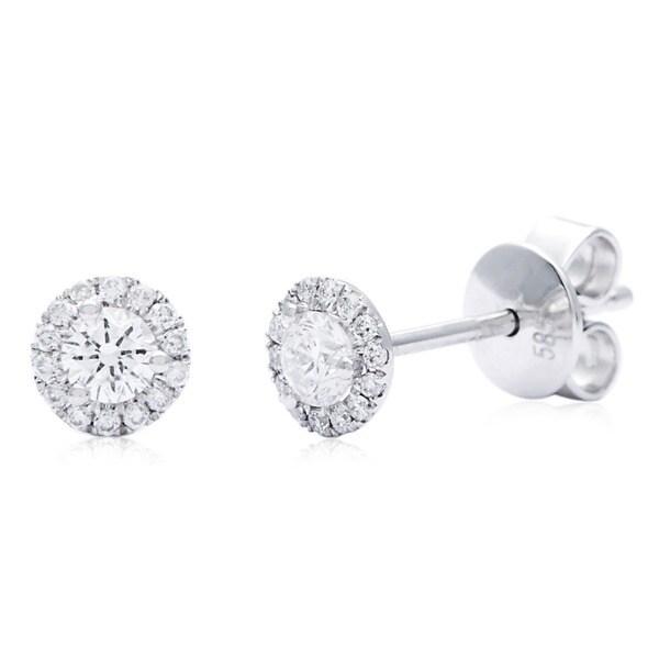 Azaro 14k White Gold 1 3ct Tdw Halo Vintage Round Diamond Stud Earrings