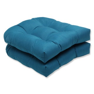 Pillow Perfect Wicker Seat Cushion with Sunbrella Spectrum Peacock Fabric (Set of 2)