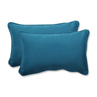 Pillow Perfect Rectangular Throw Pillow with Sunbrella Spectrum Peacock Fabric (Set of 2)