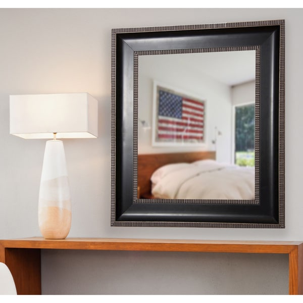 American Made Rayne Parma Black with Silver Cage Trim Wall/ Vanity Mirror - Black/Silver