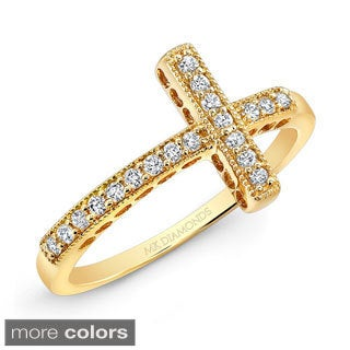 Victoria Kay 14k Gold 1/6ct TDW Diamond Curved Sideways Cross Ring (H, I1-I2)