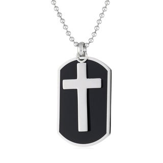 Stainless Steel Men's Dog Tag Cross Pendant Necklace
