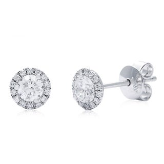 Azaro 14k White Gold 1/2ct TDW Round Diamond Halo Polished Stud Earrings (G-H, SI2-I1)