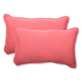Pillow Perfect Outdoor Pink Rectangular Throw Pillow (Set of 2)