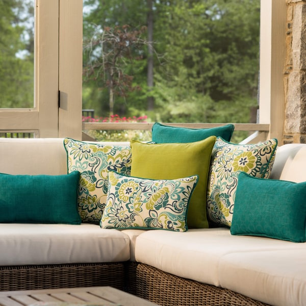 Pillow Perfect Outdoor Teal Rectangular Throw Pillow Set
