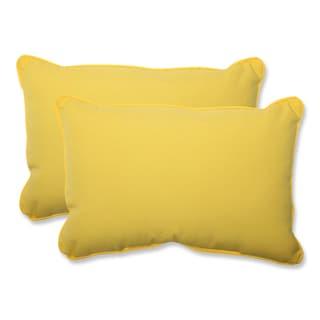Pillow Perfect Outdoor Yellow Over-sized Rectangular Throw Pillow (Set of 2)