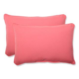 Pillow Perfect Outdoor Pink Over-sized Rectangular Throw Pillow (Set of 2)