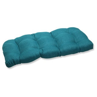 Pillow Perfect Outdoor Teal Wicker Loveseat Cushion