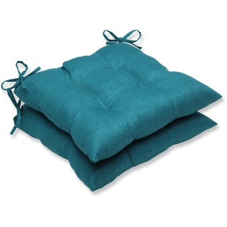 Pillow Perfect Outdoor Teal Wrought Iron Seat Cushion (Set of 2)